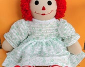 VTG.Like New/ Handmade Raggedy Anne doll with green floral dress.. - lilmillijayne