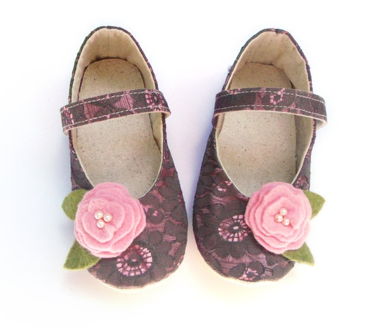Soft Sole Toddler Shoes, Pink Satin Baby Shoes, Gray Lace Overlay, Toddler Clothes, Baby Girl, Spring, Summer, Little Serah
