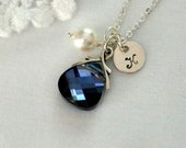 Set of 7, Bridesmaid Jewelry Sets, Pearl, Blue Crystal, Initial, Choice of Colors, Bridesmaid Gift. Initial Necklace