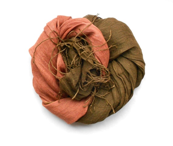 Brown and Copper Linen Scarf Womens Head or Neck Scarf perfect for Fall