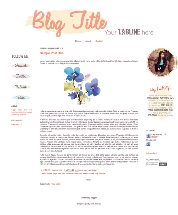 Premade Blogger Template - The November Template