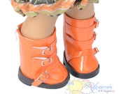 "Releaserain Buckles Rain Boots Doll Shoes Patent Orange for 18"" American Girl dolls"