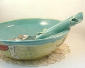Large Blue Ceramic Serving Bowl holds one gallon / kitchen home decor / Woodland forest design / For pasta or salad
