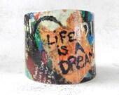 Decoupage Bracelet, Graffiti Art, Wearable Art, Cuff Bracelet, Bohemian Style, Hippie Jewelry, Bracelet Cuff, Art Jewelry - AlbinaRose