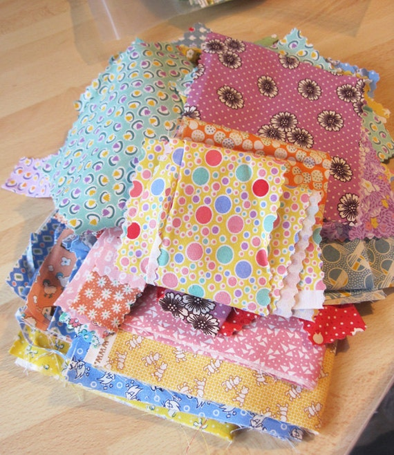 One (1) Pound of 1930's Reproduction Fabric Scraps