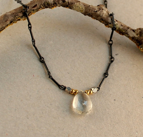 Healing Stone Necklace, Aquamarine Pendant STERLING SILVER Handcrafted Artisan Necklace, Black Chain, Silver and Gold, Everyday Necklace