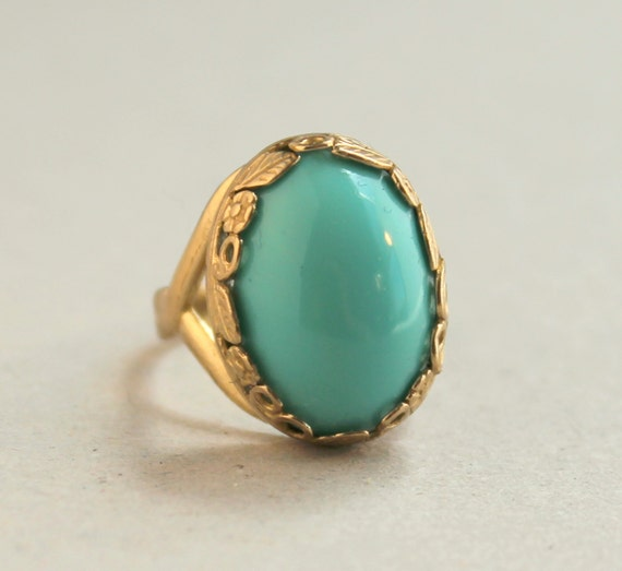 Turquoise Gold Ring, Turquoise and Gold, Filigree Bezel Set, Blue Green, Classic, Elegant, Boho, Bohemian, Gold Adjustable Band