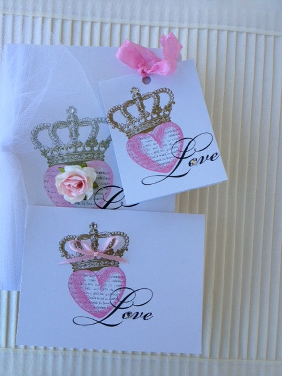Pretty Love Journal with Matching Tag and Notecard for Wedding