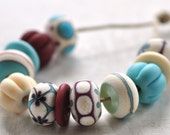 p i n o c e a n handmade lampwork beads set (12) - etched mix / ivory, blue, red - - pinocean