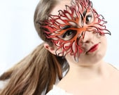"Flame mask in leather orange, red, black ""Filigree Flame"" - TomBanwell"