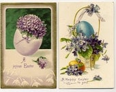 Pair Of Vintage Easter Postcards With Eggs - Floral - 1908 - VintageVendor