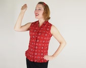 50s Red Bandana Print Cotton Ruffled Blouse S - denisebrain