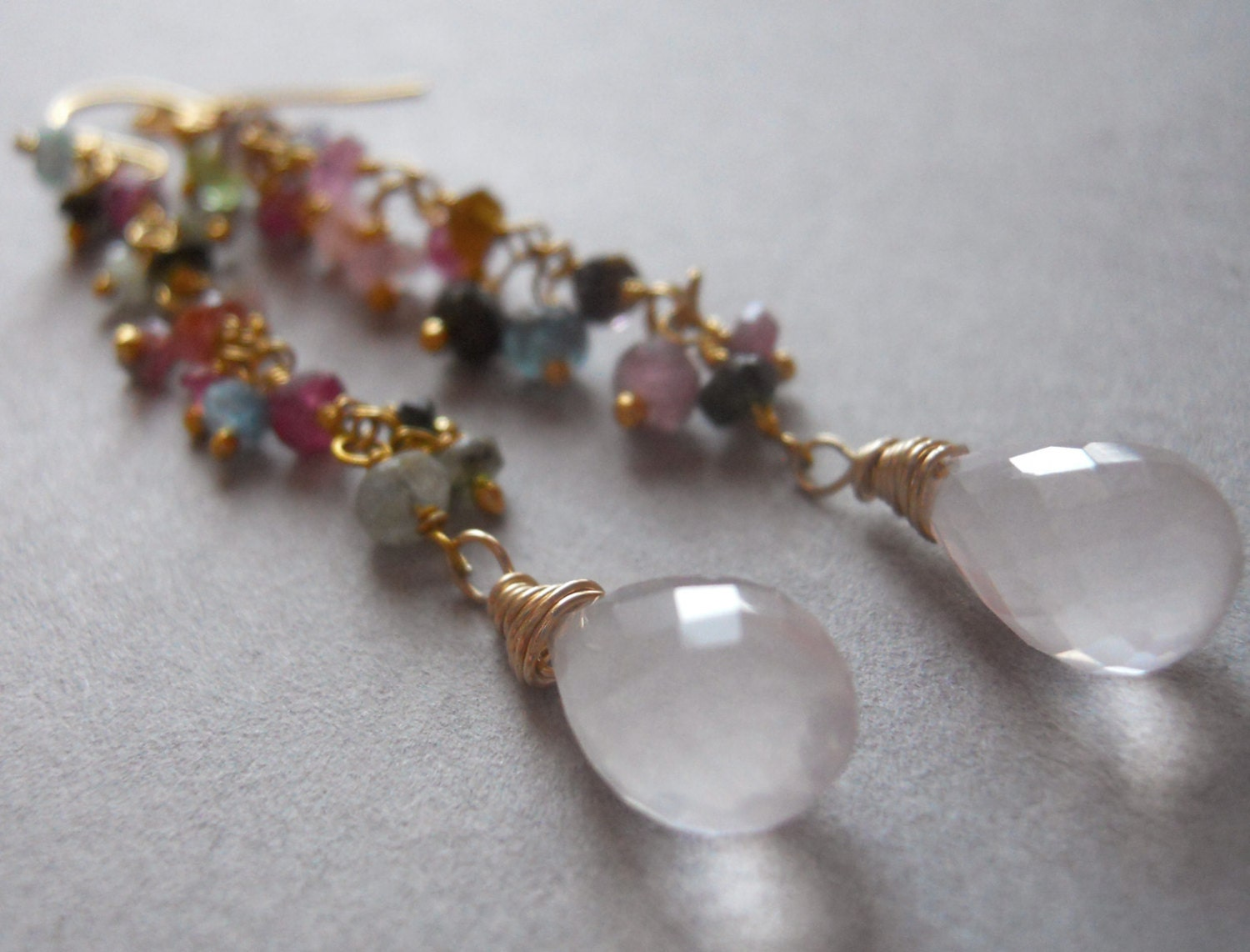 Promise me a rose garden /rose quartz and multi colored gem long dangle earrings - $42.00 USD