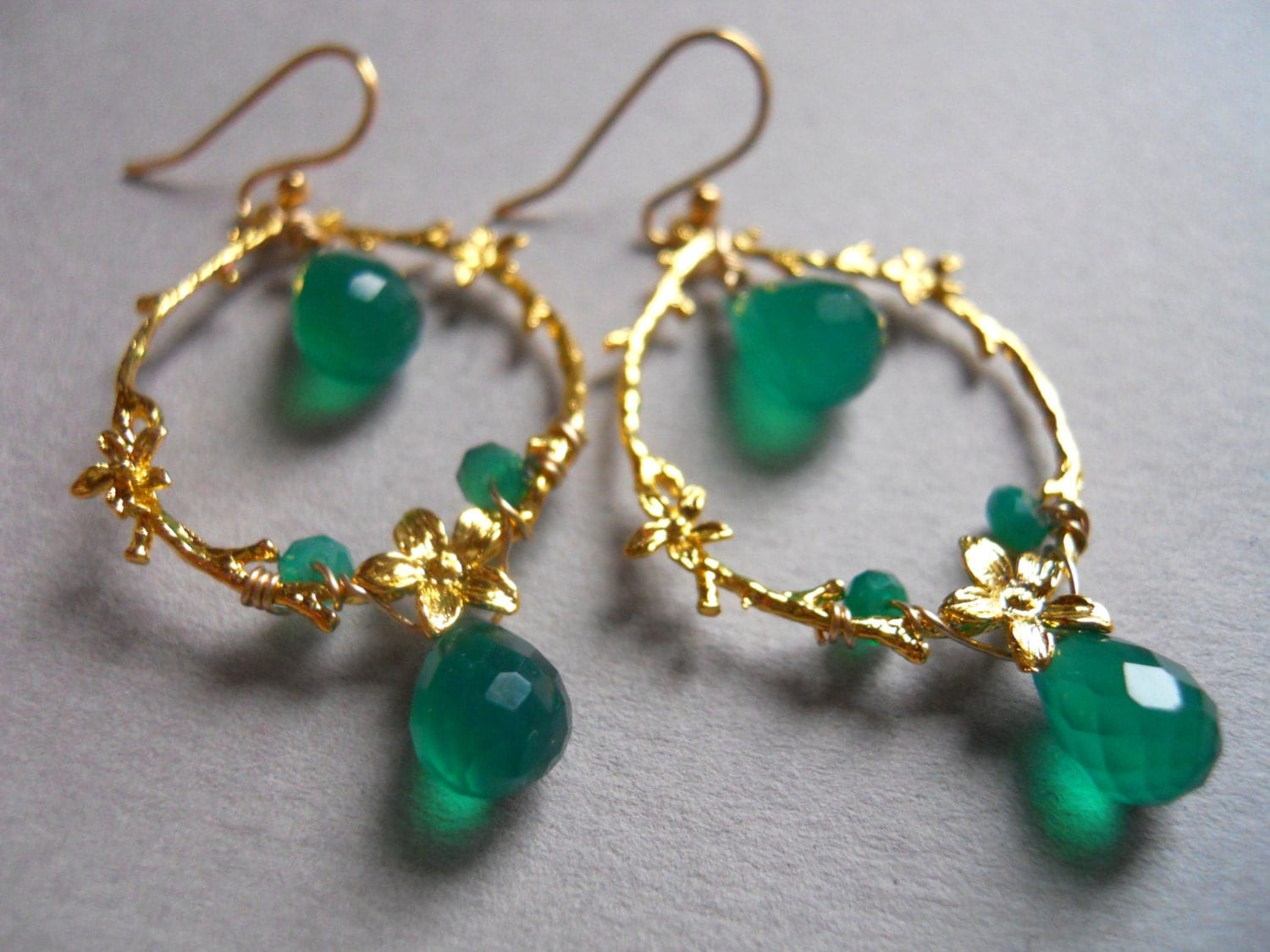 Emerald Elegance emerald green onyx flower leaf chandelier earrings - $63.00 USD