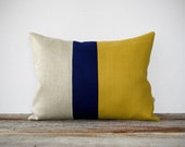 As seen in HGTV Magazine - Color Block Pillow in Mustard Yellow, Navy and Natural Linen by JillianReneDecor Modern Home Decor Honey Gold - JillianReneDecor