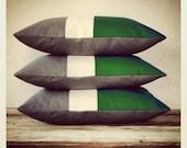 Colorblock Stripe Pillow Cover - Emerald Green Cream Gray Color Block Trio - JillianReneDecor