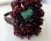 Garnet & Turquoise Cuff Bracelet - Copper - Bohemian Jewelry - stoneandbone