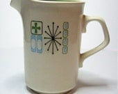 Vintage Retro Green and White Creamer
