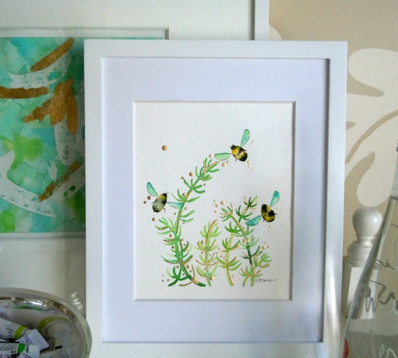 "Bee Watercolor Painting, Original, Fine Art, ""Flight of the Bumblebees No. 10"" - 12x12"