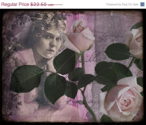 Clearance Half Off Pale Roses Collage Print and ACEO With Poem