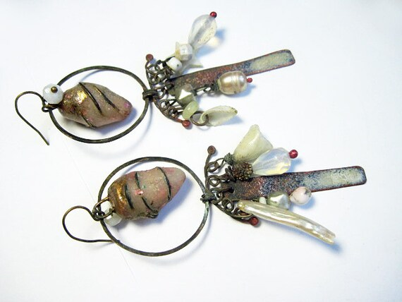 An Island. Rustic Gypsy beachy, victorian tribal ivory white button shell pearl earrings