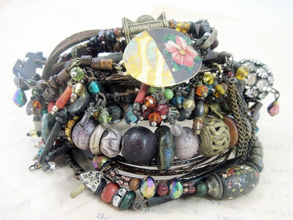 A Second Heart. Tribal Gypsy Assemblage Bangle Stack in Black and Darks.