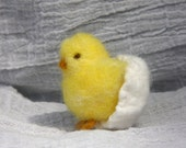 Little spring chick in it's egg needle felt decoration (woolcrazy) - woolcrazy