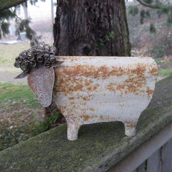 Folk art decor sheep 3D repurposed metal sculpture barn yard farm animal lamb goat kitchen