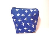 Fabric Pouch Mini Cotton Pouch Small Change Purse Small Gift Card Holder  Navy Blue StarFish - handjstarcreations