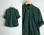 vintage men's '80s/'90s FOREST GREEN long sleeve button-up shirt. size xxl. - darlingvintage