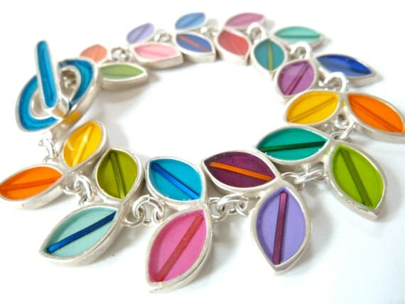 multi colour leaf silver bracelet with resin inlay