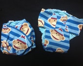 MamaBear - Prefold/Fitted Hybrid One Size Fits All Quick Dry Diaper - Sock Monkey