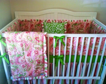Dandelion Coral Aqua Gray Crib Bedding Set by butterbeansboutique