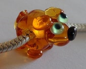 Handcrafted Artisan Lampwork Critter Glass Euro Charm Bead Dog