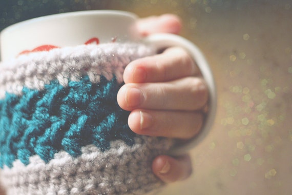 Crochet Mug Cozy with Button Strap - Custom Colors Available