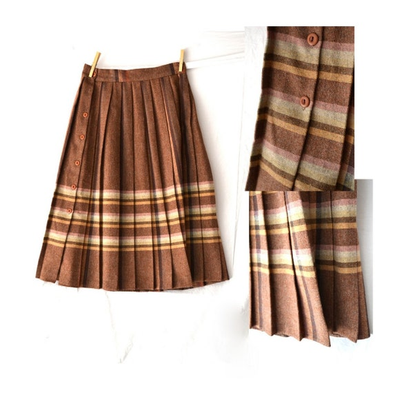 Authentic Vintage 1950's Brown Wool College Girl Skirt, Size 13/14