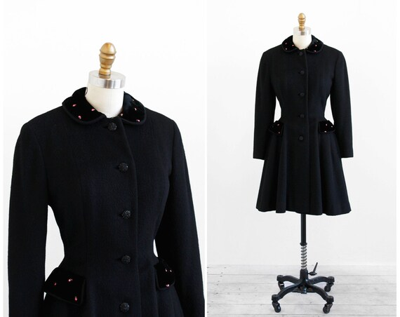 vintage 1950s coat / princess coat / 50s Black Princess Coat with Pink Roses and Peter Pan Collar