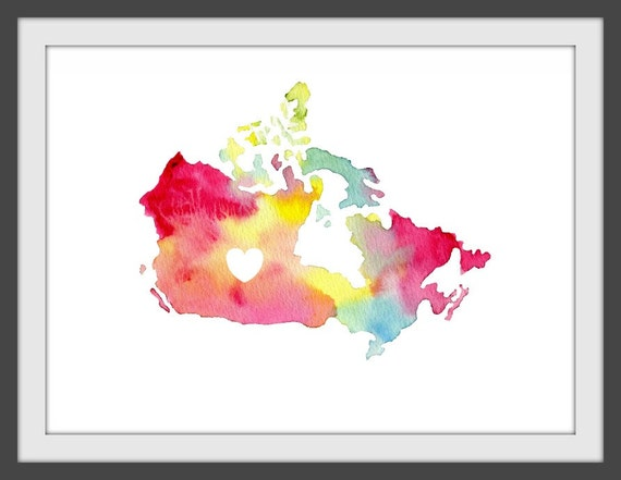 i love canada watercolor map print: 8.5 x 11
