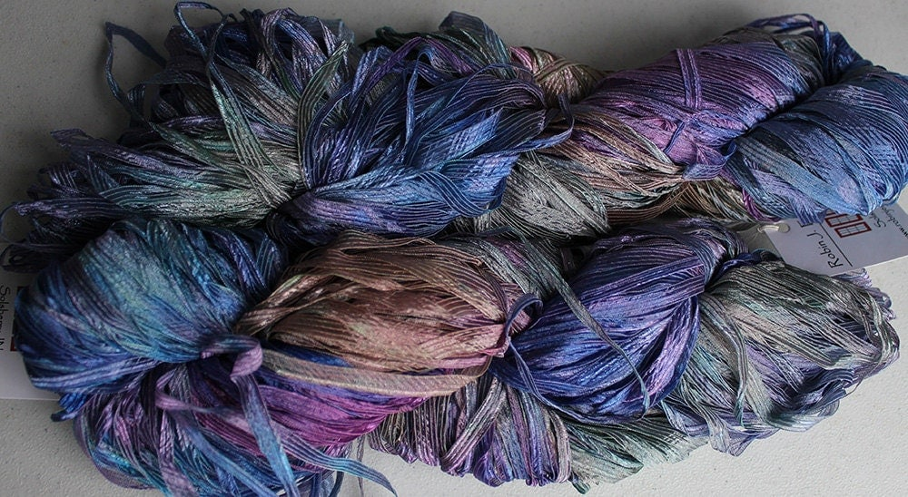 Ribbon Yarn : Rurification: Hand dyed Ribbon Yarn, Frost - Vineyard