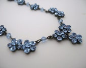 Austrian Crystal necklace -Austrian light blue crystal flowers necklace - Klassic