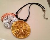 Bangin Beauties  hammered aluminum disk necklace
