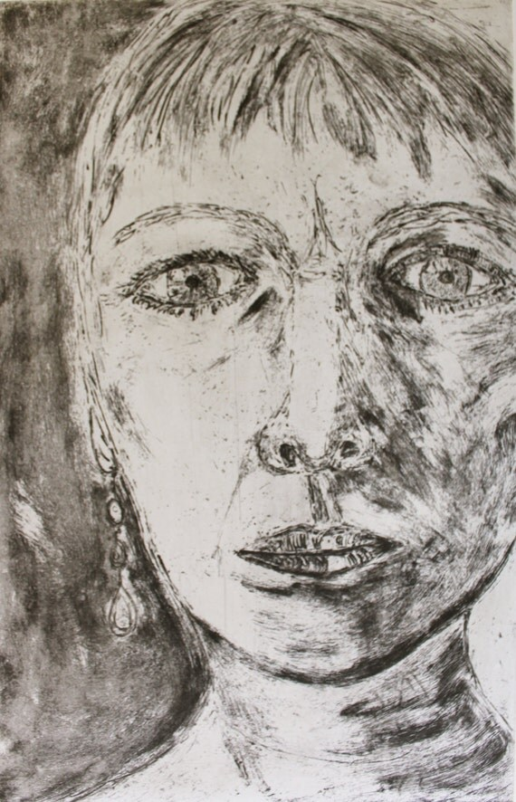 Self Portrait - 7.5 x 12 inch (on 13 x 16 inch paper) hand-pulled etching print by Silke Powers