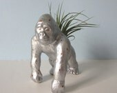 Upcycled Toy Planter - Large Silver and Gold Polka Dot Gorilla with Air Plant