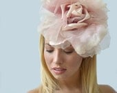 Summer Rose Fascinator - Handmade Couture Large Flower Head Accessory for Races or Garden Party - KaleidoscopicCouture