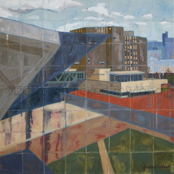 Modern Abstract Cityscape Painting-DAM Museum-Original Oil on Canvas by Erin Fickert-Rowland