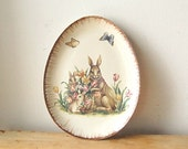 Vintage Egg Shaped Easter Bunny Rabbit with Butterflies and Spring Flowers in Basket Ceramic Plate. - franz66