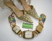 Valentines Gift Recycled Vintage Watches With Vintage Enamel Floral Panels And Working Quartz Watch Bracelet Handmade By Recycloanalyst
