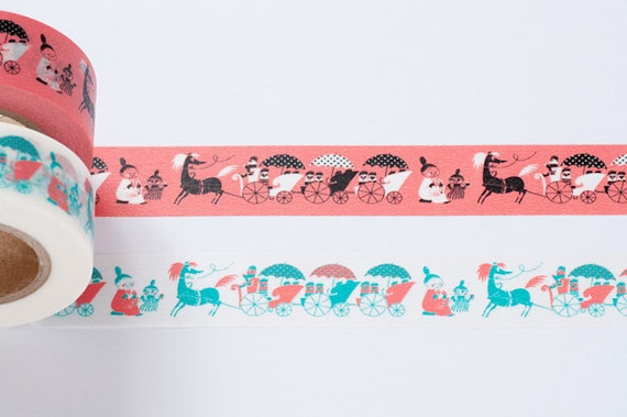 NEW- Moomin Carriage and Umbrella Series Japanese Washi Masking Tape / Salmon Pink