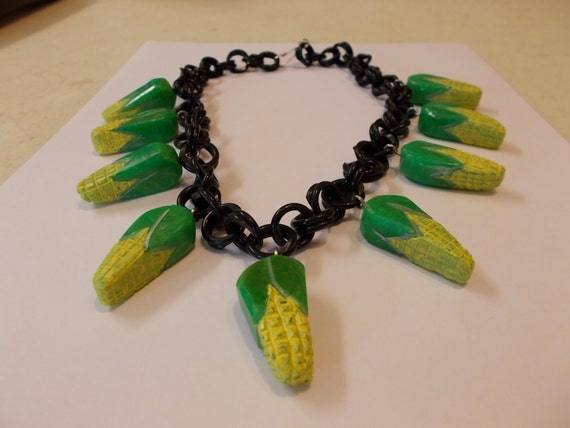 artisan bakelite corn necklace