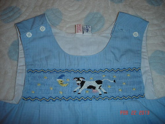 CUSTOM ORDER BOYS Smocked Jon Jon Shortall Cow Jumped Over The Moon